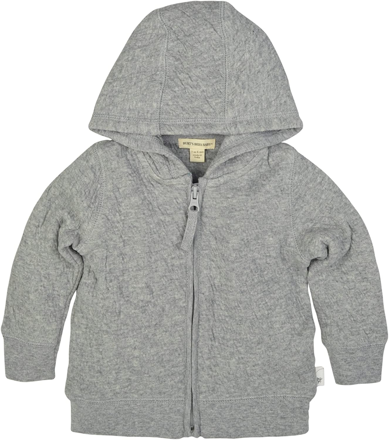 Burt's Bees Baby Unisex Baby Sweatshirts, Lightweight Zip-Up Jackets & Hooded Coats, Organic Cotton, Heather Grey Quilted Jacket, 6-9 Months: Clothing