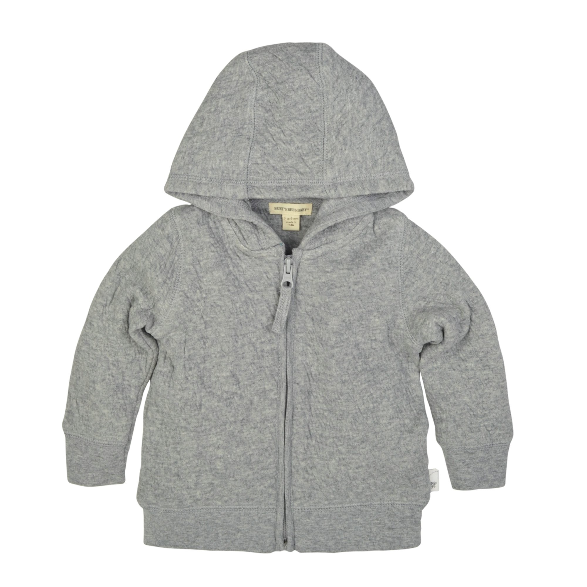 Burt's Bees Baby Unisex Baby Sweatshirts, Lightweight Zip-Up Jackets & Hooded Coats, Organic Cotton, Heather Grey Quilted Jacket, 0-3 Months by Burt's Bees Baby