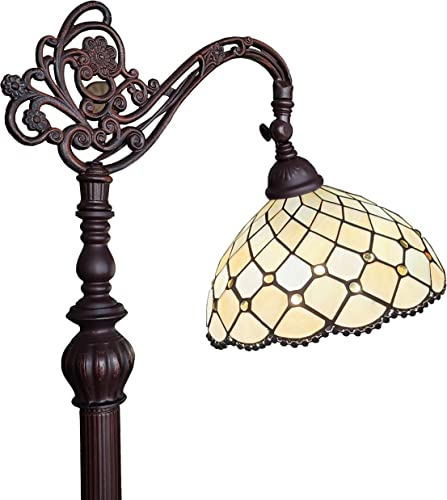 Amora Lighting Tiffany Style Floor Lamp Jeweled Beaded Arched 62″ Tall Stained Glass Yellow Antique Vintage Light Decor Bedroom Living Room Reading Gift AM121FL12B
