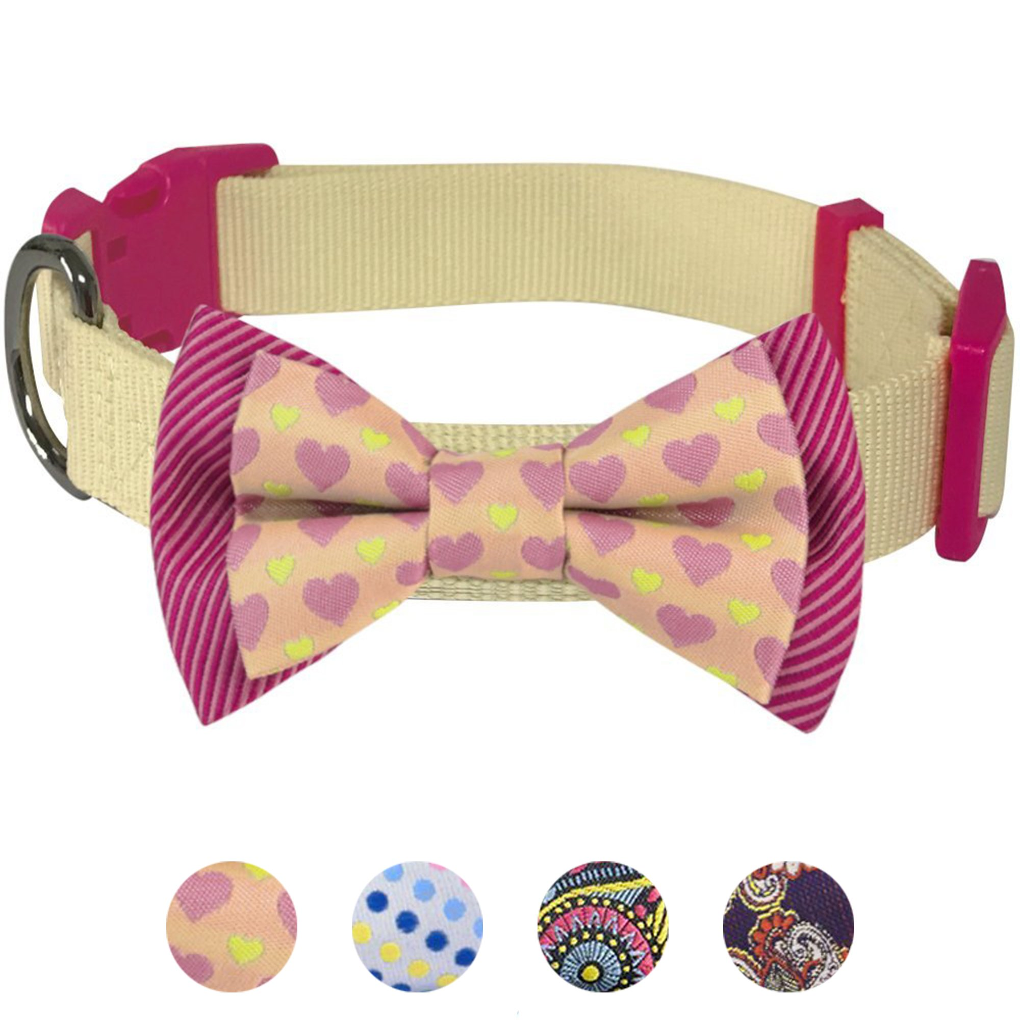 Blueberry Pet 4 Patterns Heart and Stripe Handmade Detachable Bow Tie Dog Collar in Fresh Cream, Small, Neck 12''-16'', Adjustable Collars for Puppies & Small Dogs