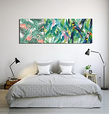 Plantas tropicales hojas de plátano flamencos loros_Arte de la pared ...