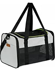 Akinerri Airline Approved Pet Carriers,Soft Sided Collapsible Pet Travel Carrier for Medium Puppy and Cats (Medium, Grey)