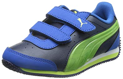 Puma Girl s Speed Light up V Kids Peacoat-Strong Blue-Green Chinese Shoes - 9a2221bae