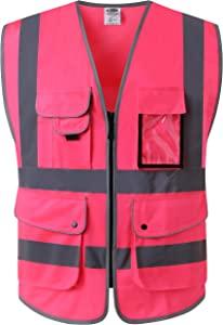 JKSafety 9 Pockets Class 2 High Visibility Zipper Front Safety Vest With Reflective Strips, Meets ANSI/ISEA Standards (Medium, Pink)