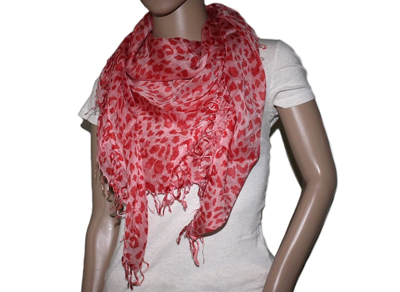 Square Handmade Orange Leopard print Bamboo scarf