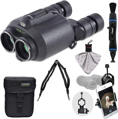 Fujifilm Fujinon Techno-Stabi TS1228 12×28 Image Stabilized Binoculars Case with Harness Strap Smartphone Adapter Cleaning Kit
