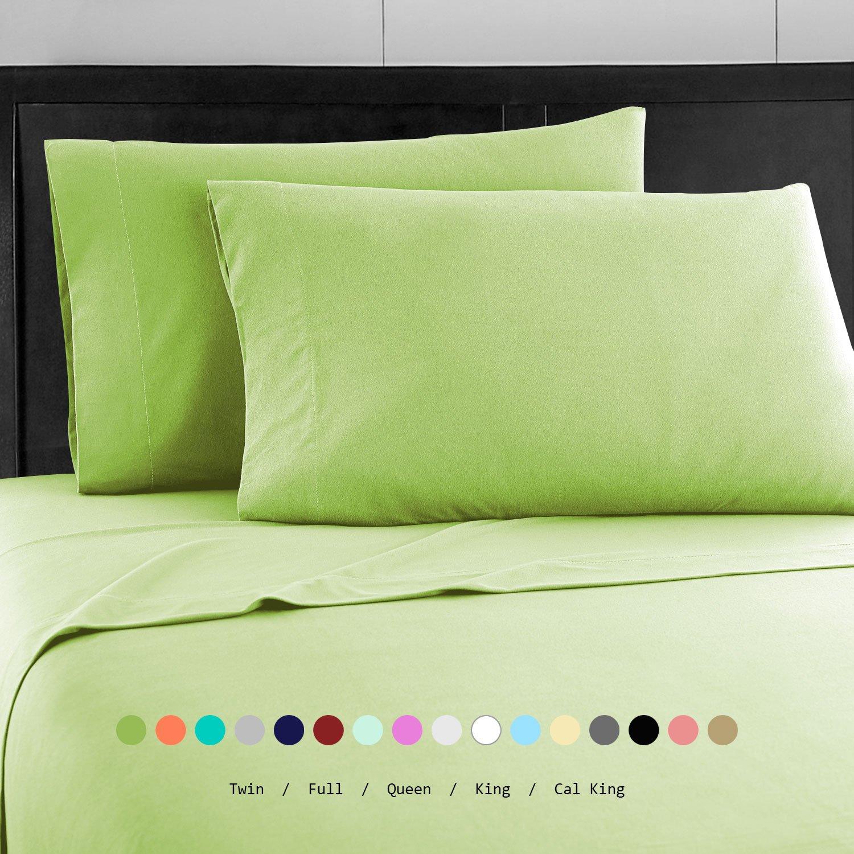 Prime Bedding ベッドシーツセット マイクロファイバー 2000 寝具4枚セット キング グリーン B06Y5MTG61 キング|ライムグリーン ライムグリーン キング