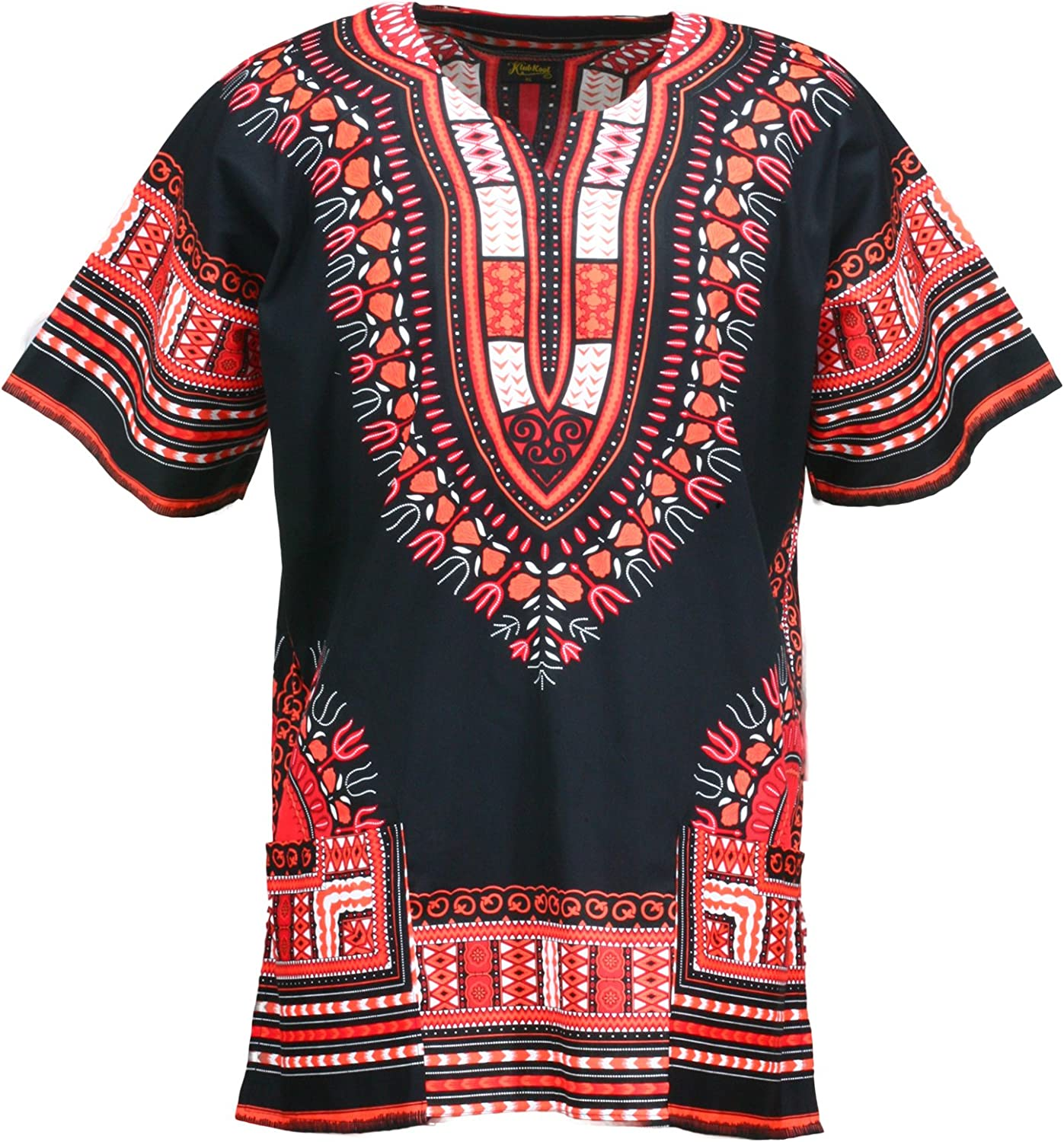 Hippie Dress | Long, Boho, Vintage, 70s KlubKool Dashiki Shirt Tribal African Caftan Boho Unisex Top Shirt $12.50 AT vintagedancer.com
