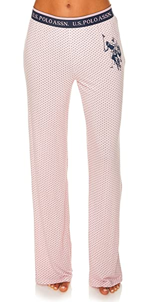 U.S. Polo Assn. Women's Pajama Sleepwear Logo Pants in Polka Dots Pink Daisy Large