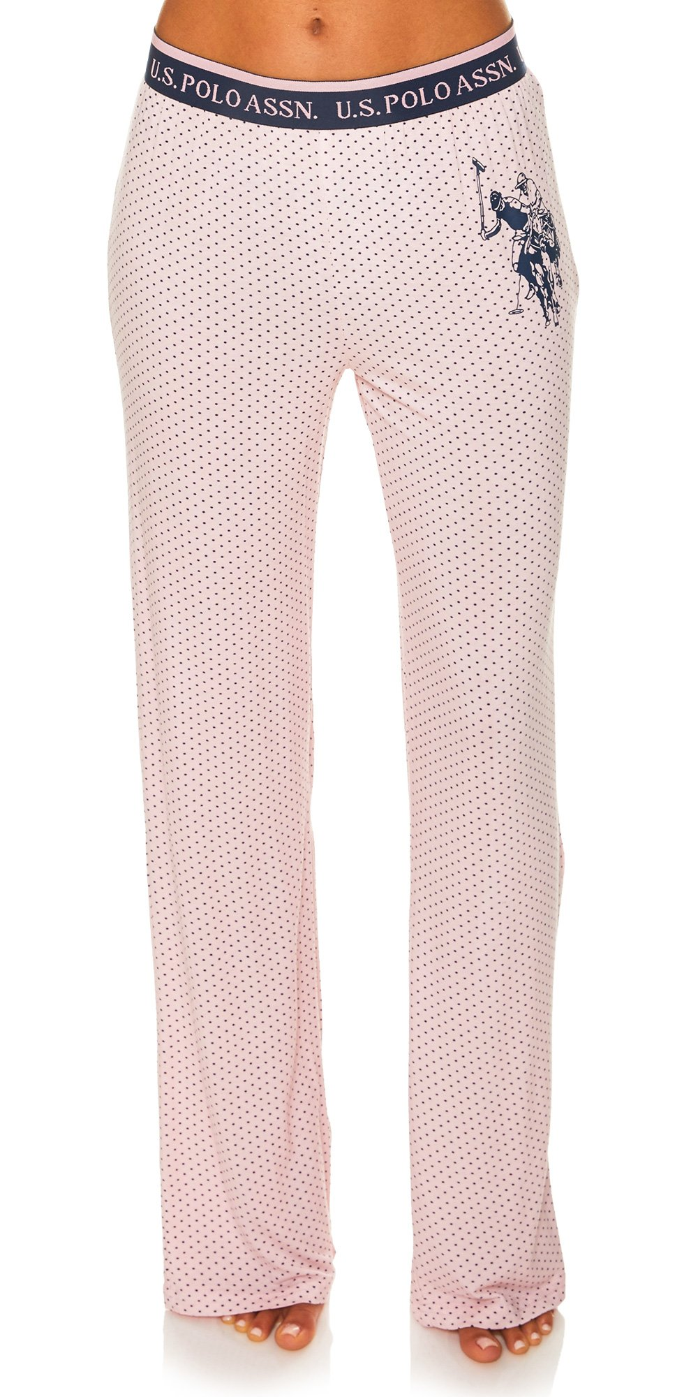 U.S. Polo Assn.. Women's Pajama Sleepwear Logo Pants in Polka Dots Pink Daisy Small