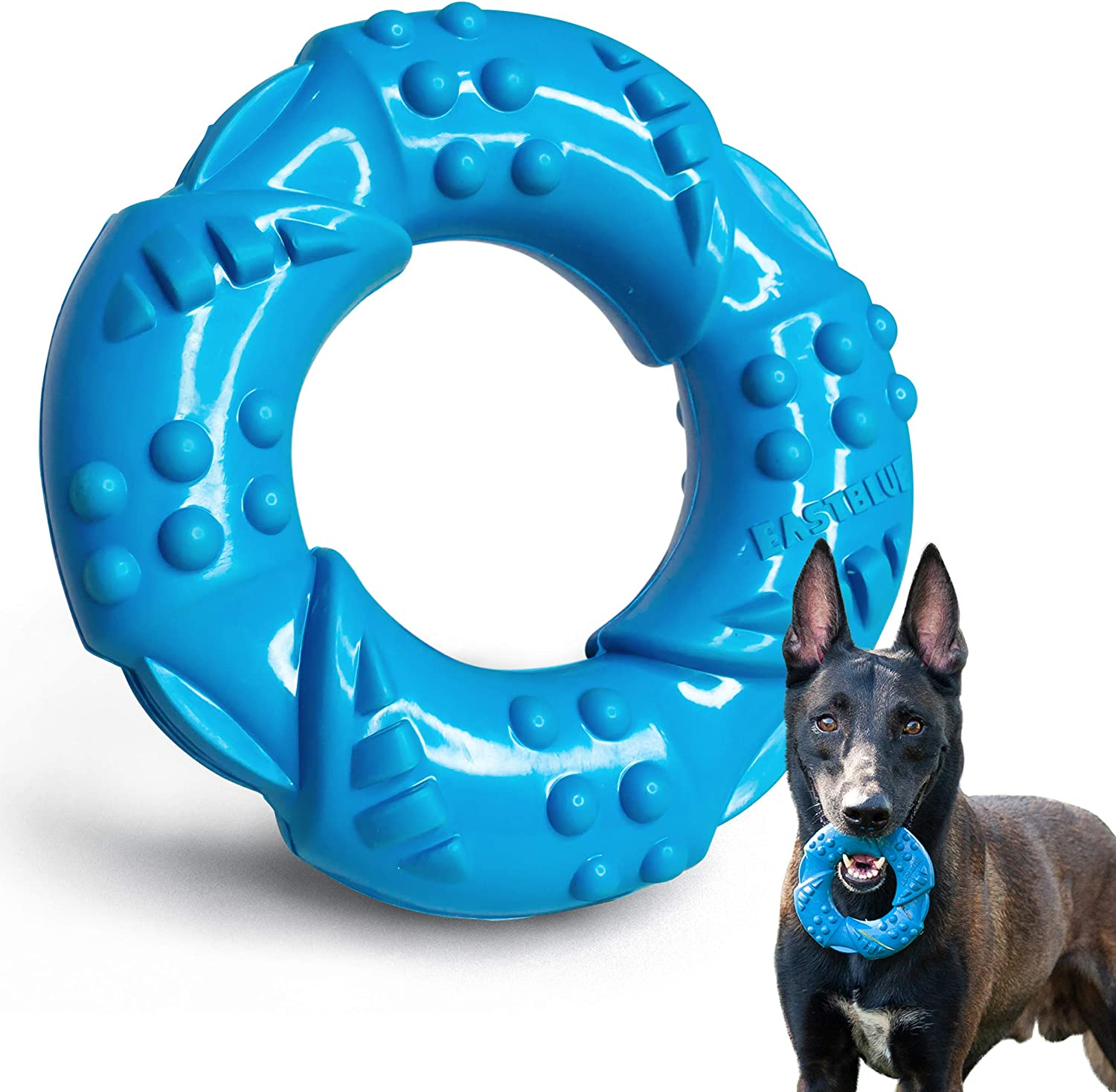 EASTBLUE Indestructible Ultra-Tough Natural Rubber Dog Chew Toys for Large and Medium Breed