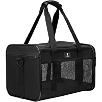 X-ZONE PET Airline Approved Soft-Sided Pet Travel Carrier for Dogs and Cats, Black (Medium)
