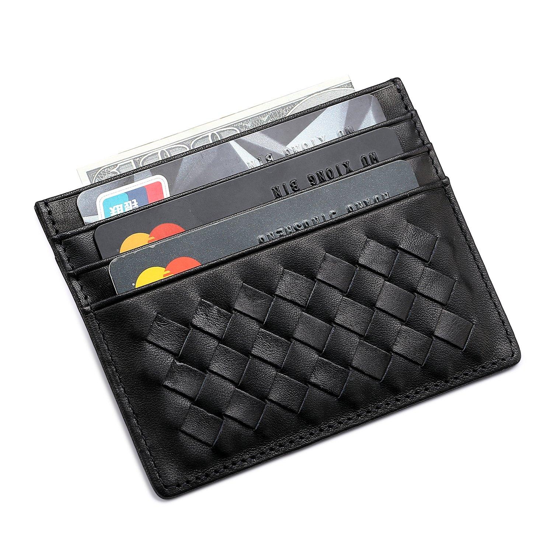 MEKU Womens Leather Card Case Wallet Weaved Credit Card Holder Slim ...