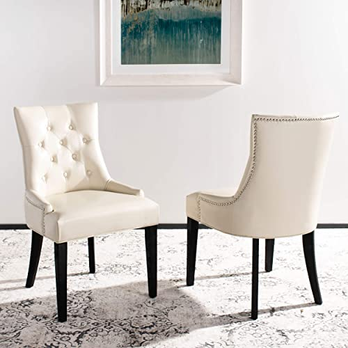Safavieh Mercer Collection Heather Cream Leather Nailhead Dining Chair