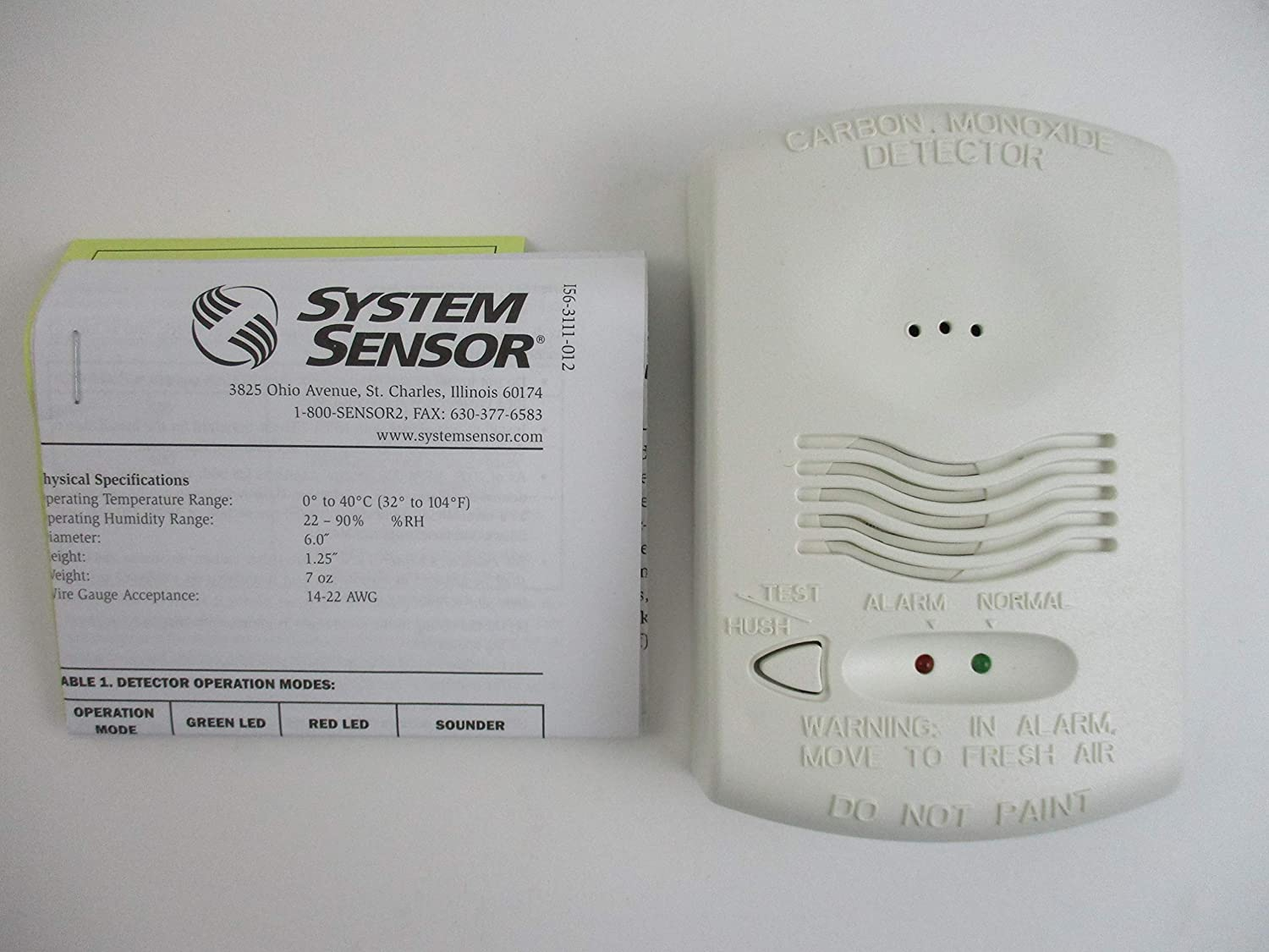 SYSTEM SENSOR CO1224T12/24 volt, 4-wire, system-monitored C02 carbon monoxide detector with RealTest Technology: Amazon.com: Industrial & Scientific