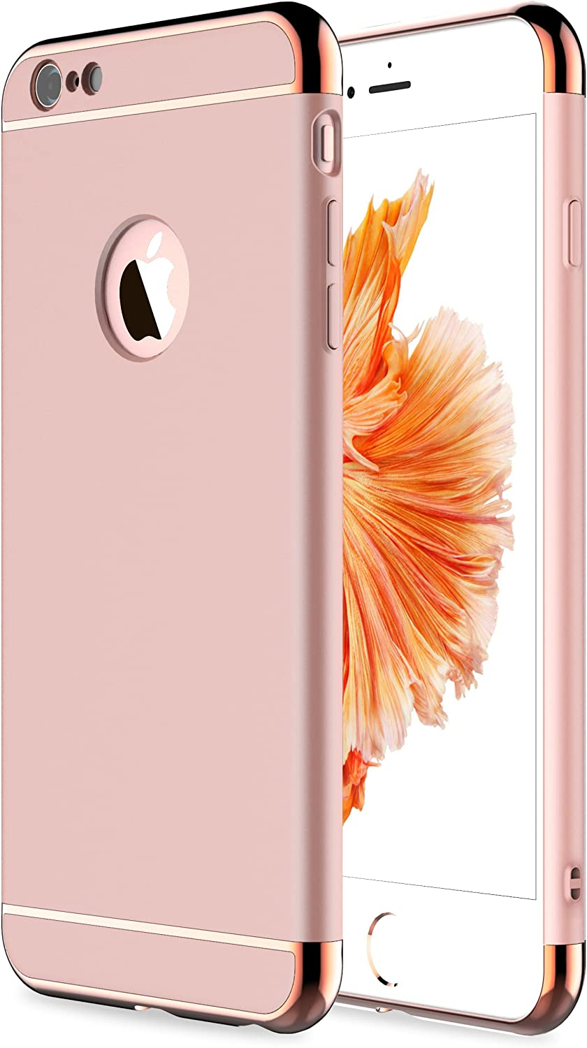 iPhone 6s Plus Case, iPhone 6 Plus Case,RORSOU 3 in 1 Ultra Thin and Slim Hard Case Coated Non Slip Matte Surface with Electroplate Frame for Apple iPhone 6/6s Plus(5.5') - Rose Gold