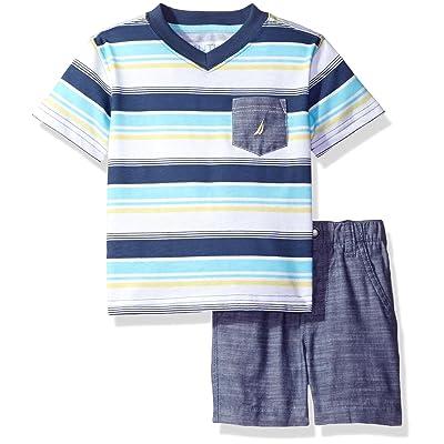Nautica Baby Boys' Striped V-Neck Tee and Chambray Short Set