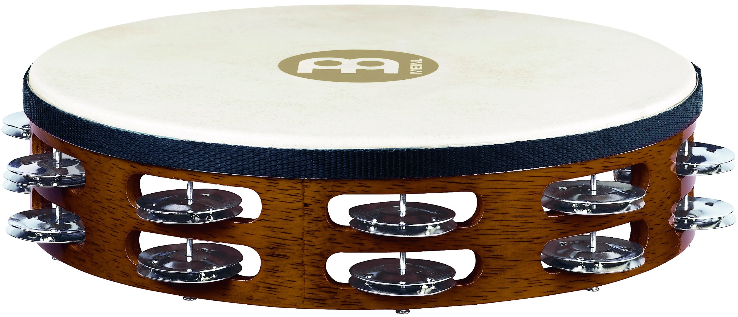 Meinl Percussion TAH2AB Traditional 10-Inch Wood Tambourine with Goat Skin Head and Steel Jingles, 2 Row