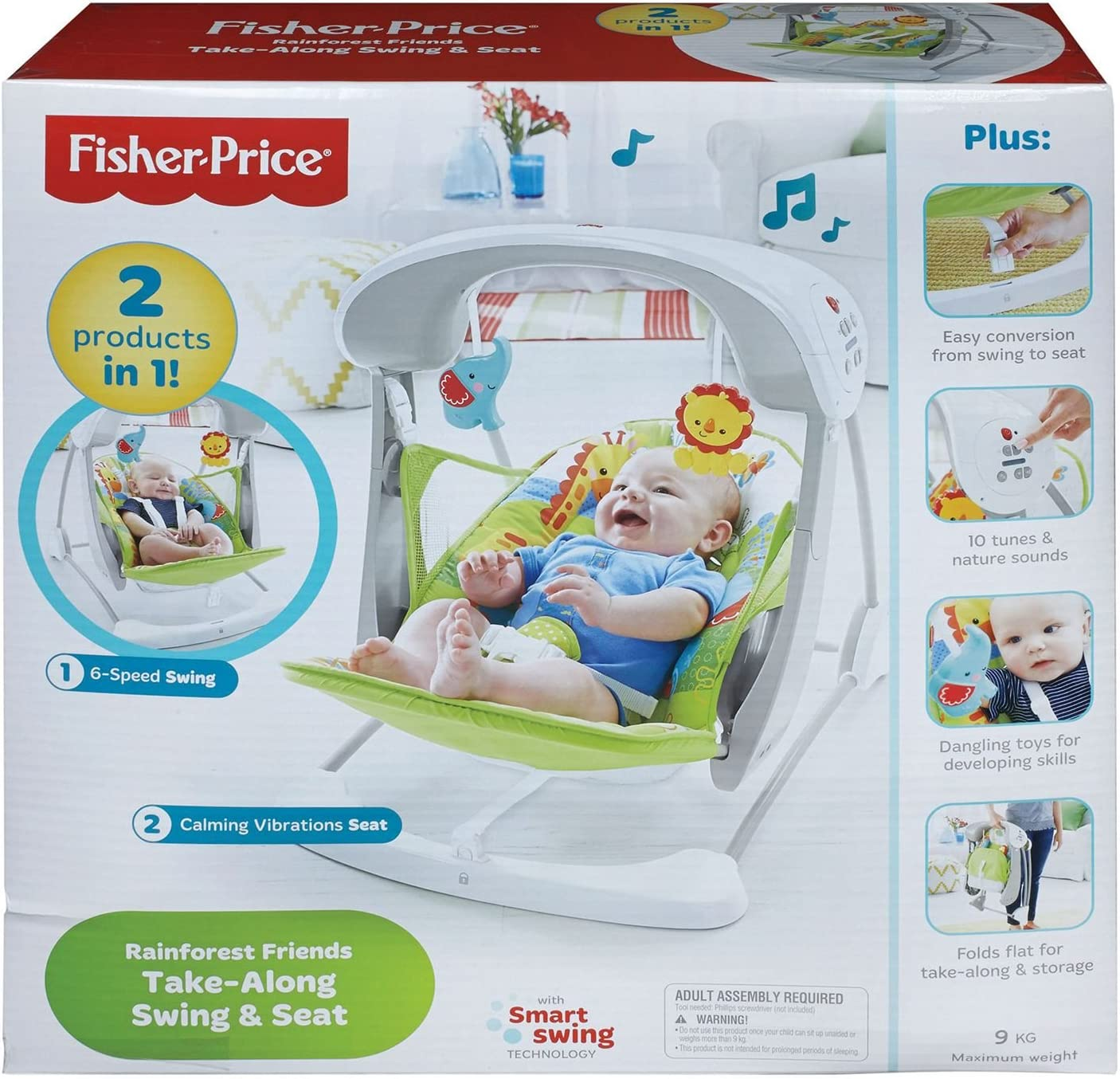Fisher Price Rainforest Take Along Swing And Seat Set New Born Baby Swing Chair With Calming Vibrations Songs And Sounds Suitable From Birth Amazon Co Uk Baby