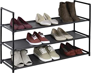 Richards Homewares Black 3 Shelf Fabric Shoe Rack Free Standing, No Tools