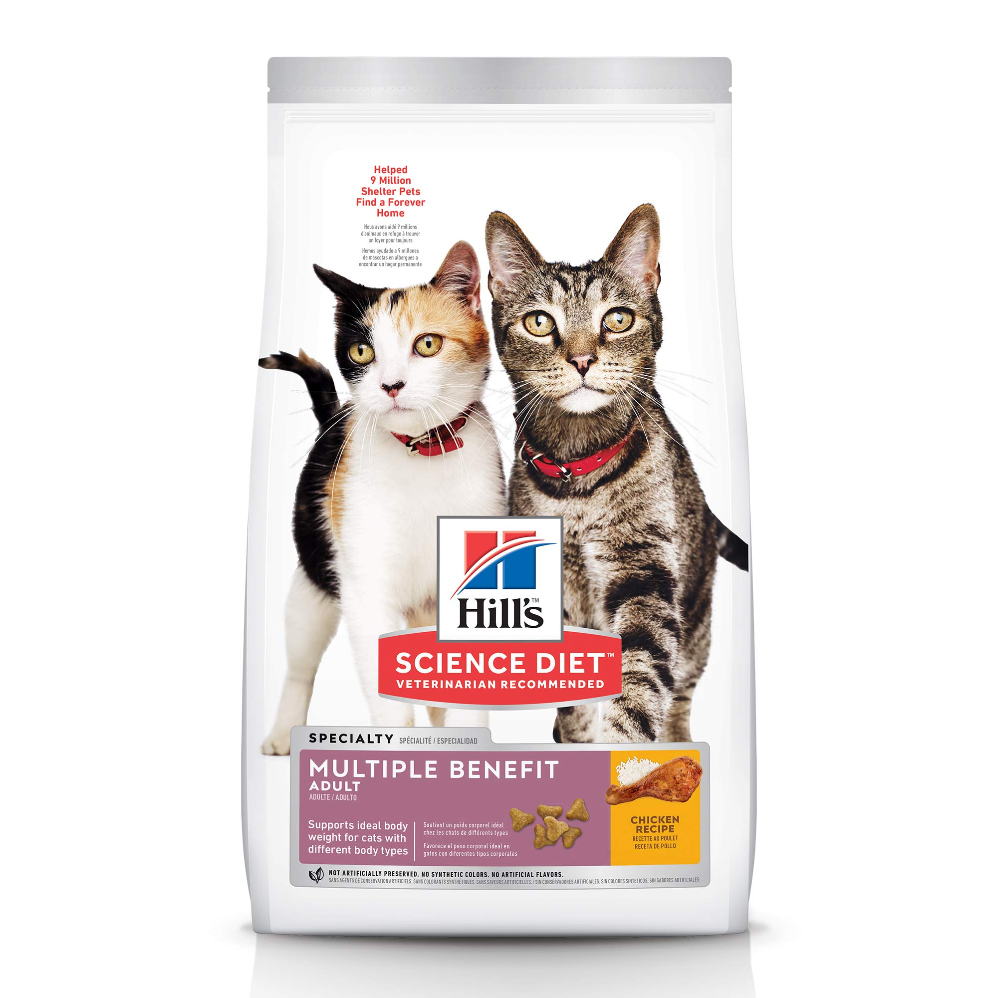 Hill's Science Diet Dry Cat Food, Adult, Multiple Benefit Chicken Recipe, 15.5 lb Bag