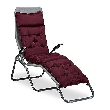 relaxdays matelas coussin de chaise longue de jardin fauteuil terrasse balcon plage hxlxp 180 x - Fauteuil Chaise Longue