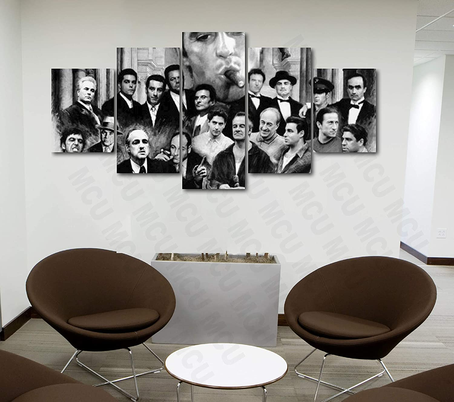 5 Piece Famous People Mafia Drug Dealers Poster Canvas Print Art Decor Wall  Like Painting Look (5 Piece Medium, Family Gangsters Scarface Black &