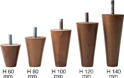 IPEA 4X Piedini in Legno Grezzo a Cilindro per Mobili e Divani Altezza 100 mm Piedi in Faggio Colore Chiaro Set di 4 Gambe per Armadi e Poltrone