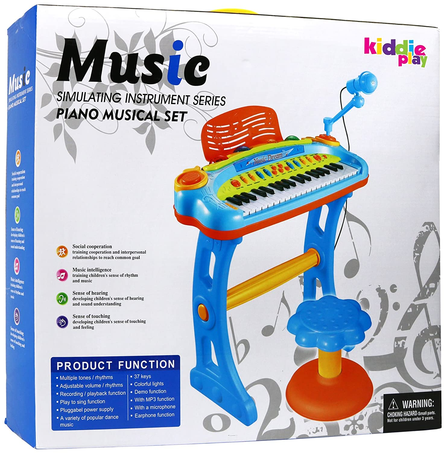 8260221591b Amazon.com  Kiddie Play Electronic 37-Key Toy Piano Keyboard for Kids with  Real Working Microphone