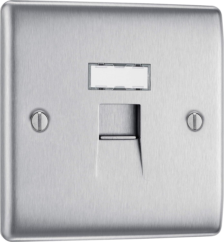 BG Nexus 2 Gang Euro Module Plate Brushed Steel RJ45 Ethernet Port Face Plate