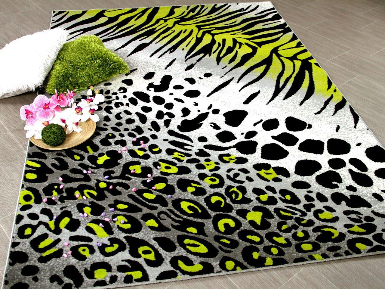 Carat Designer Teppich Grun Leopard Zebra Grau Grun Teppich In 3