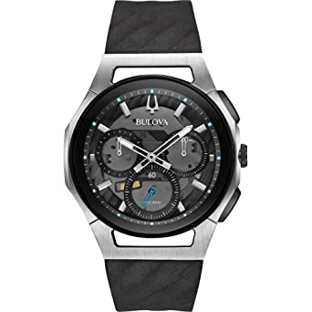 0a6404dd3 Amazon.com: Bulova Men's Curv Collection Black Watch 98A161: Watches
