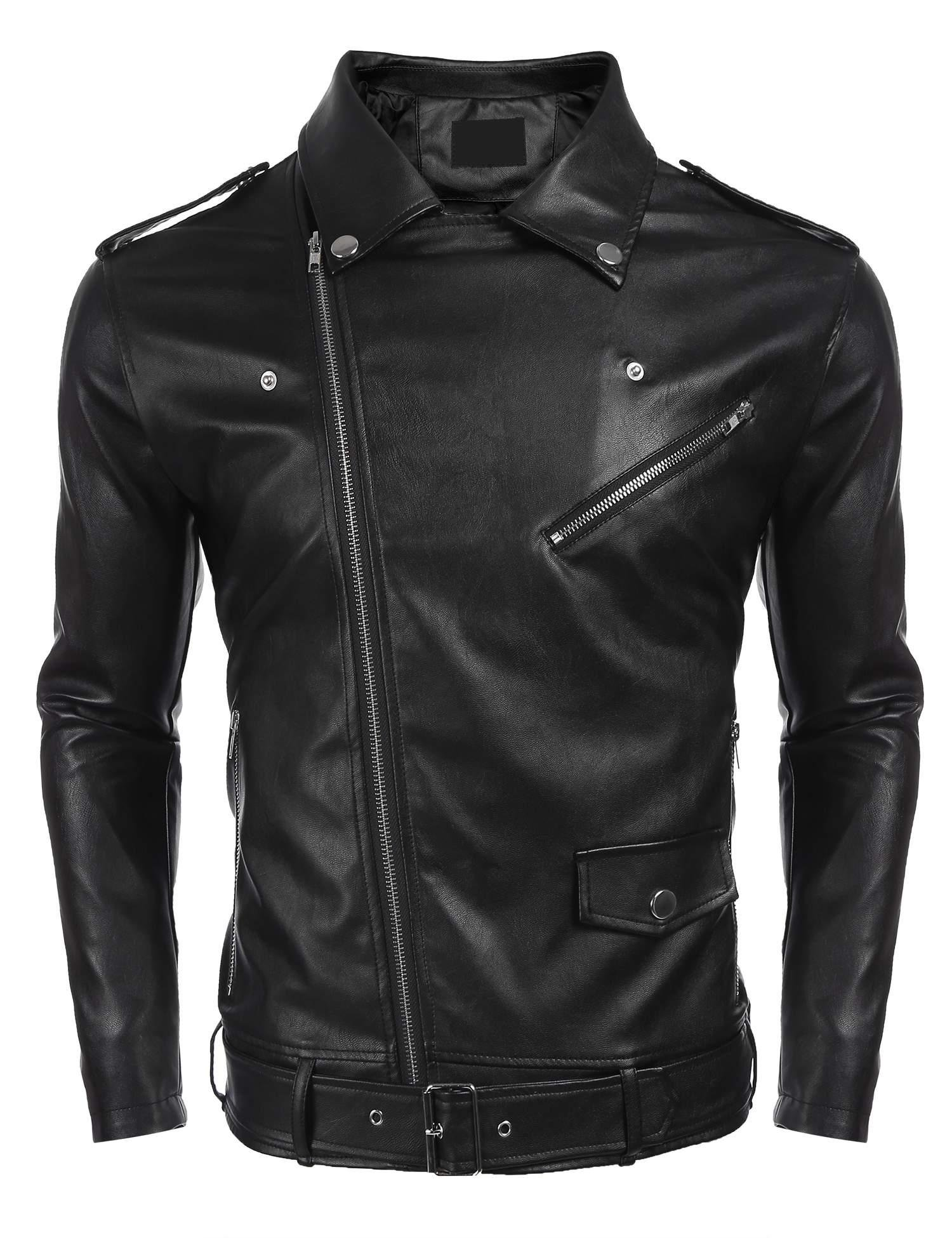 Men Turn Down Collar PU Leather Full Zip Slim Fit Motorcycle Jacket