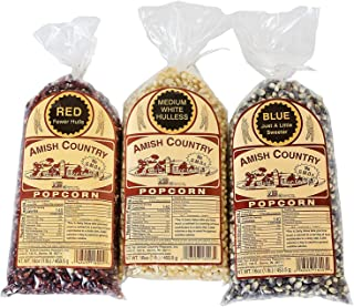 product image for Amish Country Popcorn | Variety Bundles | 3 - 1 lb Bags | Red - White - Blue Popcorn Kernels | Old Fashioned with Recipe Guide