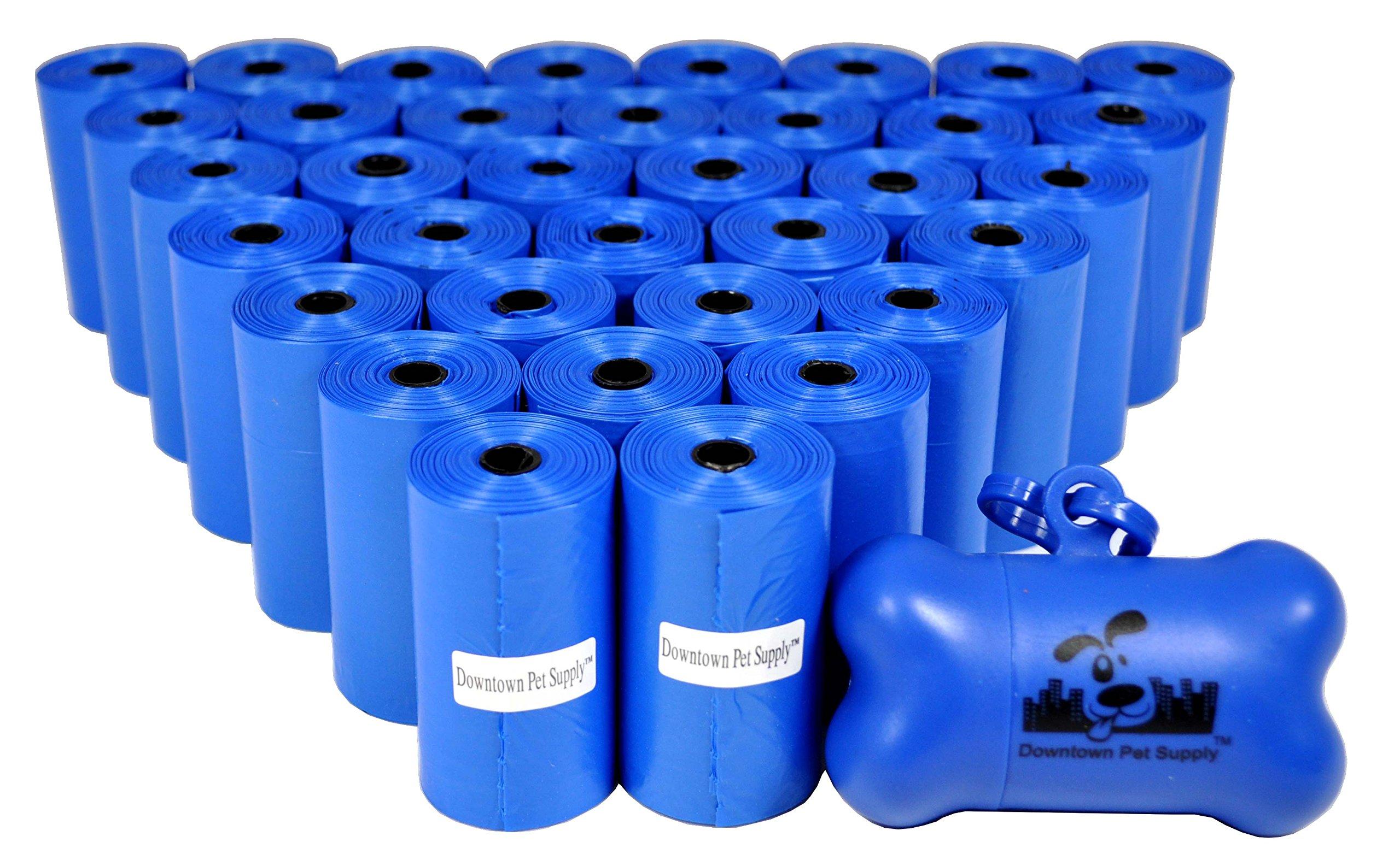 Downtown Pet Supply 700 Pet Waste Bags, Dog Waste Bags, Bulk Poop Bags on a roll, Clean up poop bag refills - (Color: Blue) + FREE Bone Dispenser, by