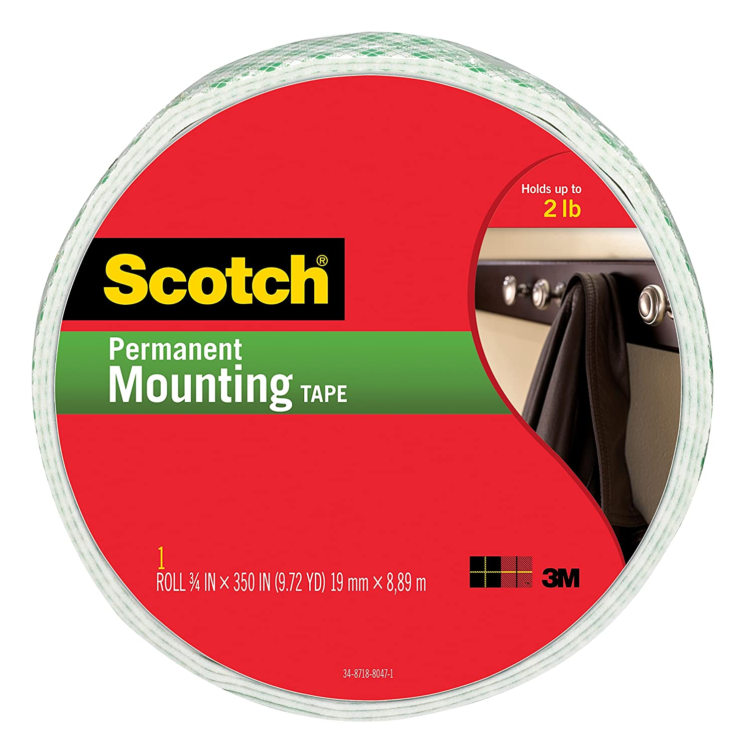 Scotch Indoor Mounting Tape, 0.75-inch x 350-inches, White, Holds up to 2 pounds, 1-Roll (110-Long)
