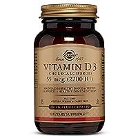 Solgar Vitamin D3 (Cholecalciferol) 55 mcg (2200 IU) Vegetable Capsules - 100 Count