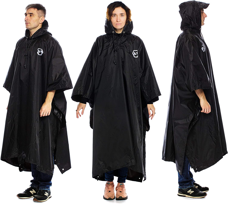 Reusable Rain Gear for Camping Fishing /& Sport Events Lightweight Black /& Purple-Paint Hooded Rain Ponchos for Adult Men /& Women Foxelli Rain Ponchos Bundle