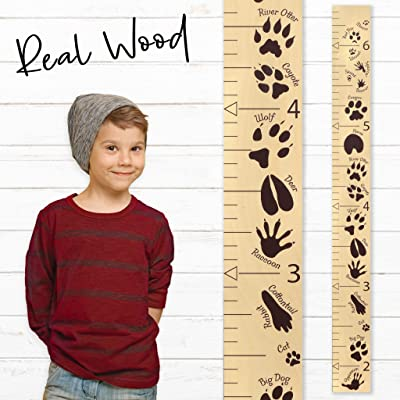 Growth Chart Art | Wooden Growth Chart Ruler for Boys | Growth Chart Ruler Kids Height Chart | Measuring Kids Height Wall Décor for Kids | Animal Tracks Brown: Baby