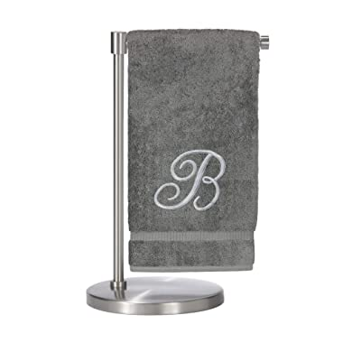 Monogrammed Bath Towel, Personalized Gift, 27 x 54 inches - Set of 2 - Silver Script Embroidered Towel - 100% Turkish Cotton- Soft Terry Finish - for Bathroom or Spa - Script B Gray