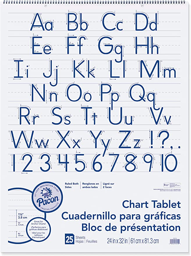 Pack of 3 Cursive Cover 30 Sheets 24 x 16 1 Ruled Pacon PAC74630BN Chart Tablet