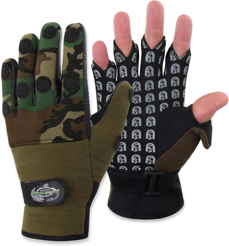 normani Fishing Sports Flexibler Anglerhandschuhe aus 3 mm Neopren und atmungsatkivem MESH-Gewebe alle 5 Fingerkuppen sind umklappbar S-4XL}