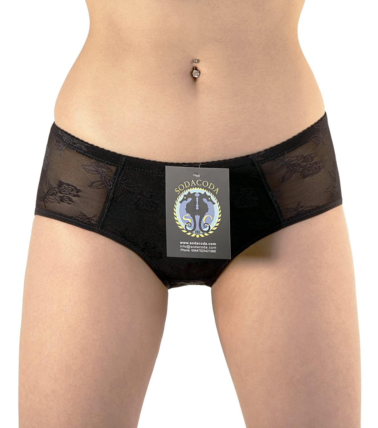 SodaCoda Foam Padded Butt Buttocks Lace Pants Brief - Extra Lowrise Style in Nude Or Black
