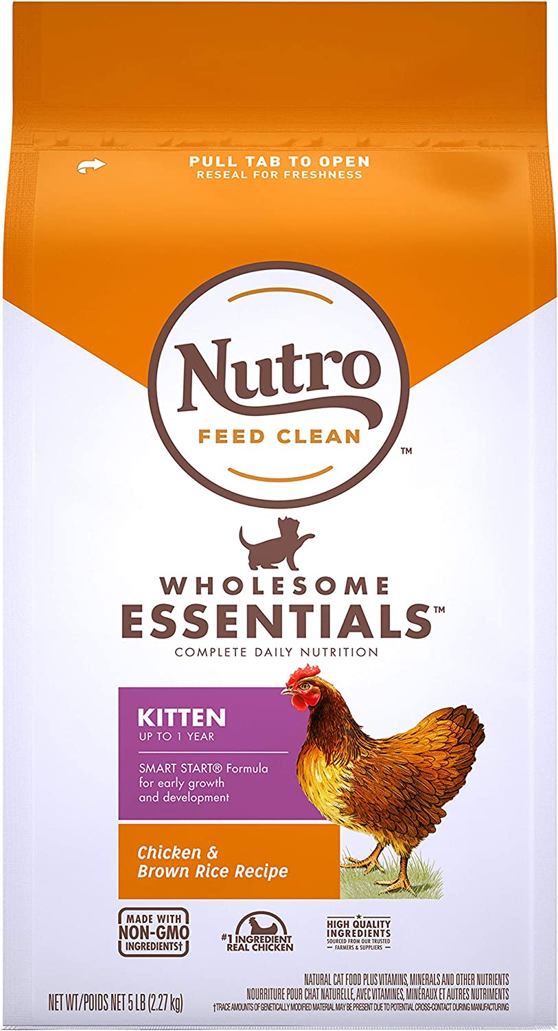 NUTRO WHOLESOME ESSENTIALS Natural Dry Cat Food, Kitten Chicken & Brown Rice Recipe Cat Kibble, 5 lb. Bag