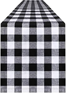 OurWarm 14 x 108 Inch Buffalo Check Table Runner Cotton Polyester Black and White Buffalo Plaid Table Runner for Family Dinner, Indoor Outdoor Parties, Farmhouse, Thanksgiving, Christmas & Gathering