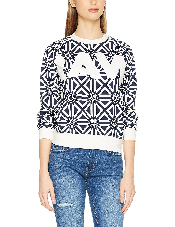 G-STAR Women's Women's White-Blue Printed Sweatshirt in Size L Blue