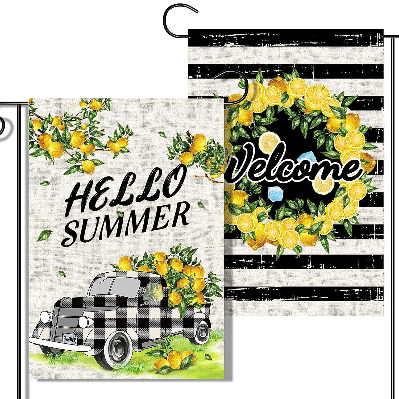 2 Pcs Double-Sided Art Summer Garden Flags, Buffalo Plaid Lemon Farm Truck Flag , Black Stripe Welcome Garden Flag Lemon Wreath, Origianl Design For Summer Yard Outdoor Decoration…