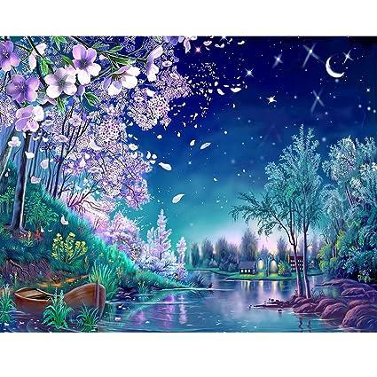 466de9d9d7 Amazon.com: Mobicus 5D DIY Diamond Painting By Number Kits,Moonlight  stream(40X30CM/16X12inch)