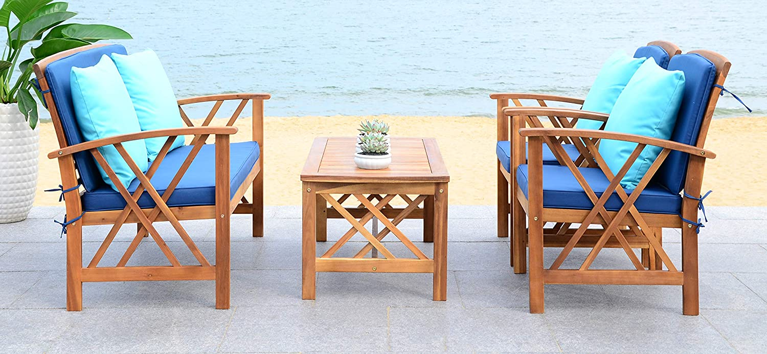 Safavieh PAT7008C Collection Fontana Teak Look and Navy 4 Pc Outdoor Set, Natural