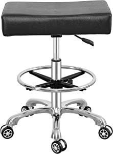 Adjustable Rolling Swivel Stool Chair for Massage Office Tattoo Kitchen, Work Heavy Duty Stool with Wheels (Black, with Foot Rest)